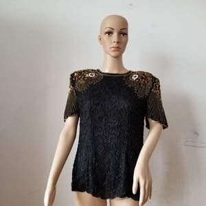 Vintage 100% Natural Silk Beaded Blouse, Small